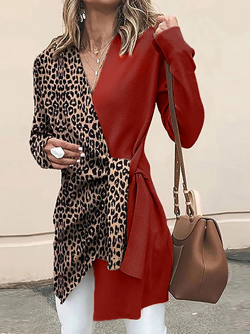 V-neck Leopard Print Wrap Cardigan