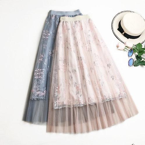 Summer Floral Net Skirt