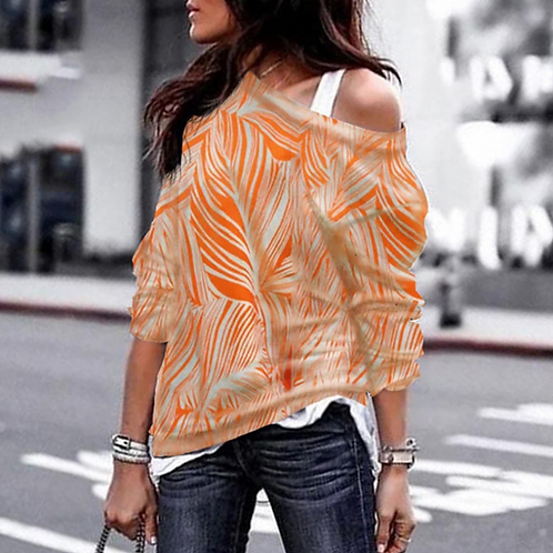 Off Shoulder Zigzag Print Top