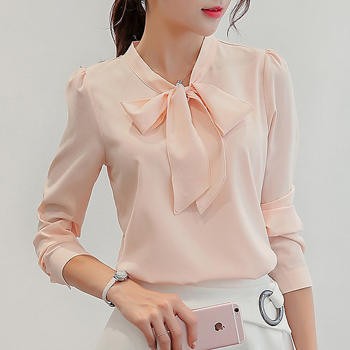 Front Bow Tie Knot Blouse
