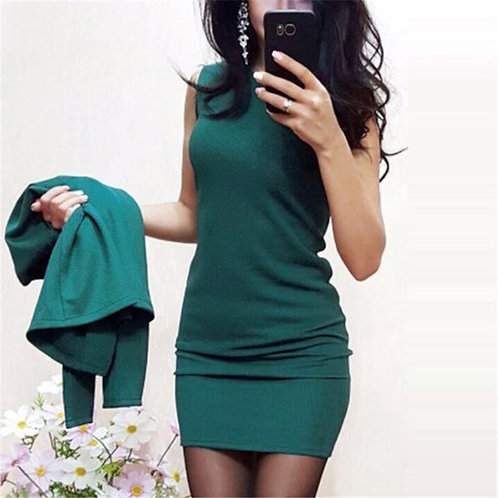 Round Neck Dress Full Sleeve Casual Coat Two Piece Set