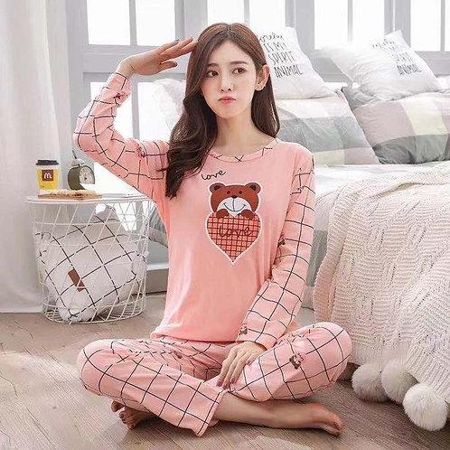 Bear Heart Lined Print Pajama Set