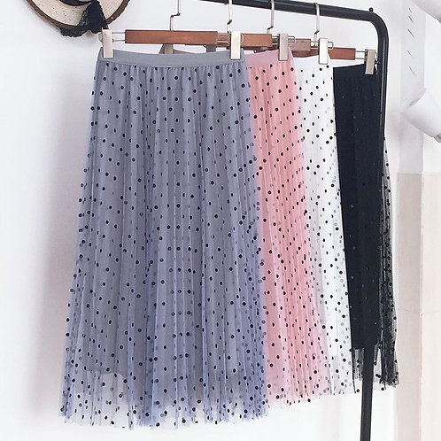 Polka Dot Mesh Midi Skirt