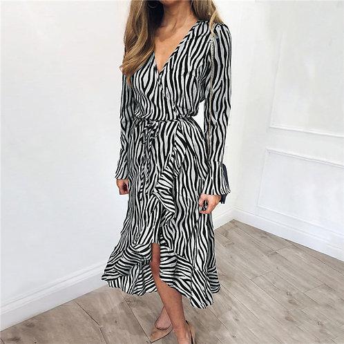 Zebra Print Chiffon Dress