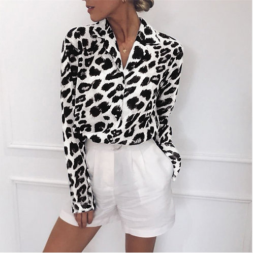 Leopard Print Tunic Casual Blouse