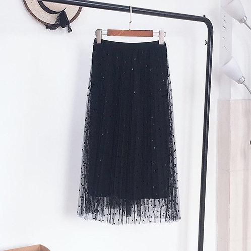 Polka Dot Mesh Midi Skirt