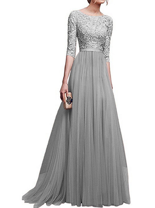 Formal Net Quarter Sleeve Dress