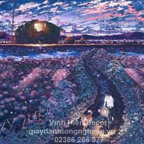 field_night_anime_dog_man_bike_sunset_10