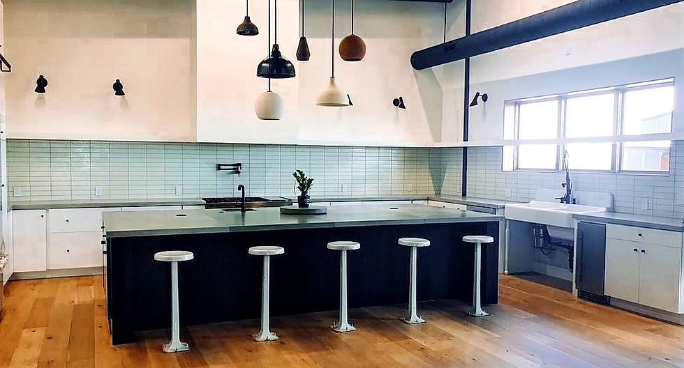 Modern kitchen with concrete countertops