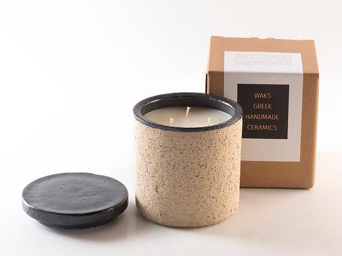 Waks stoneware pot in black, Oak Fire