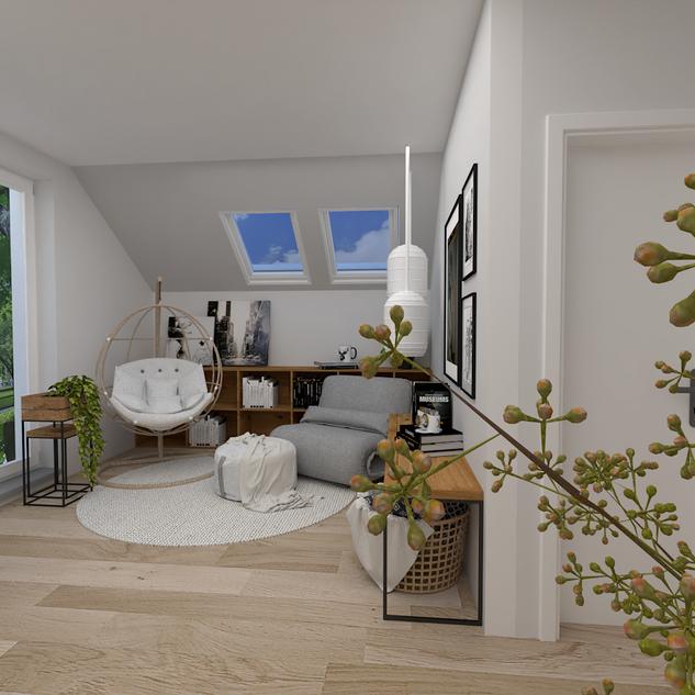 Relaxační a čtecí kout zabydluje ložnici a potěší příjemným výhledem z okna.