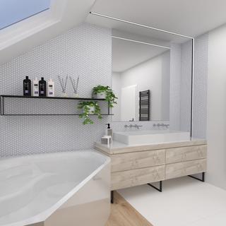 V horní koupelně je velká masážní vana.