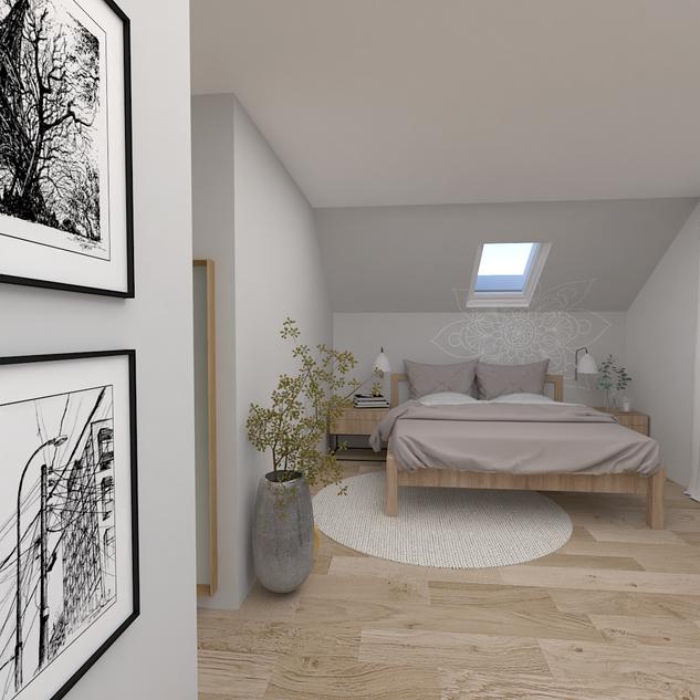 Ložnice má intimní zónu pro klidný spánek.