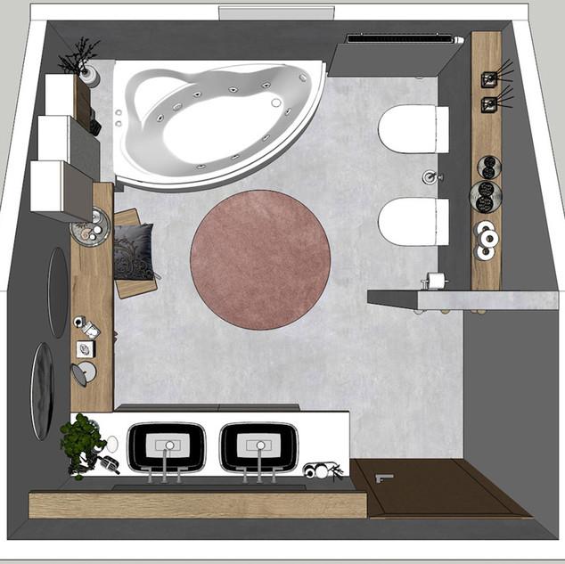 Horní pohled na dispozici koupelny