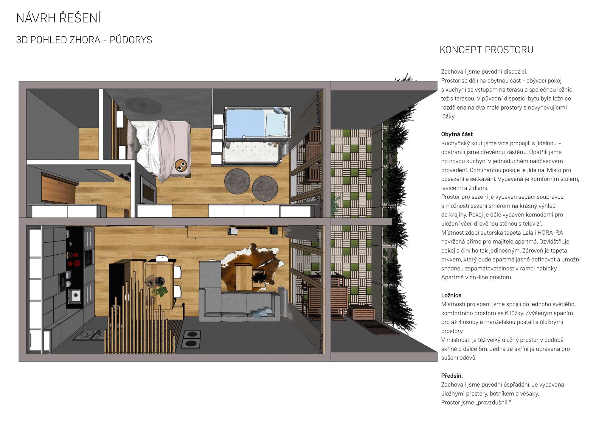 Návrh řešení interiéru