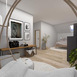V relaxační zóně v ložnici si může klientka pohovět na houpačce.