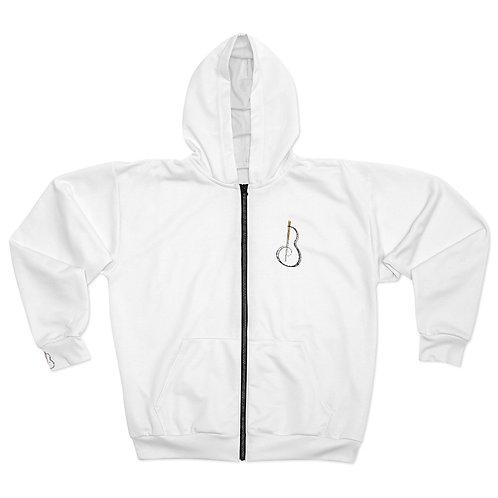 White Zip Hoodie (Unisex)