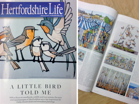 'A Little Bird Told Me' - Cathy Smale, Featured Artist in Hertfordshire Life magazine
