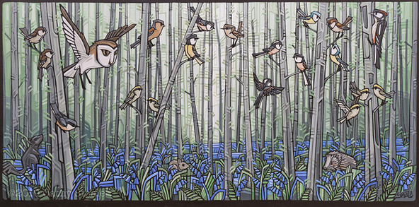 Woodland Birds and Bluebells