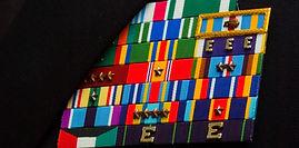 navy ribbons mounted