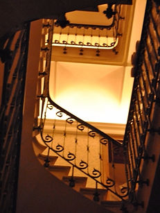 Main stairwell ropelights and wallpaper_