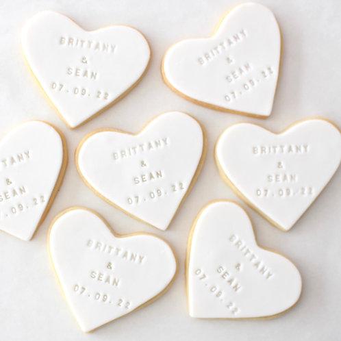 Stamped Heart 12 Sugar Cookies