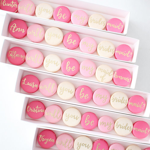 Personalized Bridal Party Proposal Macarons