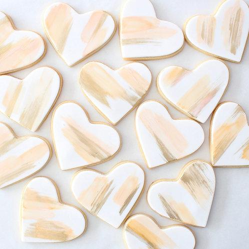 Brushed Heart 12 Sugar Cookies