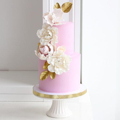 """4""""+6"""" Lilac Peonies Cake"""