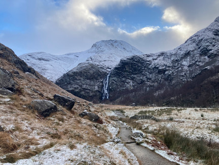 First snow at Steall Falls