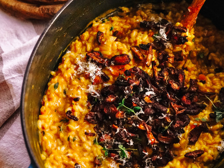 "Vegan Pumpkin Risotto with Smoky Maple Shiitake ""Bacon"""