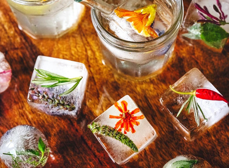 Earthy Ice Cubes | Edible Flower and Herb Ice Cubes For Drinks