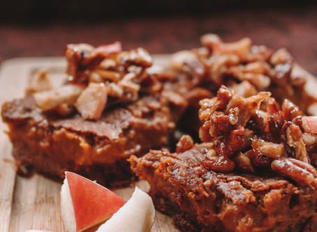 Maple Pecan Sweet Potato Pumpkin Squares With Caramel Chocolate Crust   RECIPE
