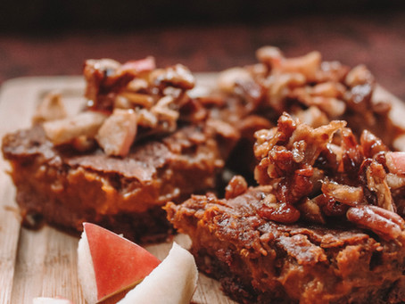Maple Pecan Sweet Potato Pumpkin Squares With Caramel Chocolate Crust | RECIPE