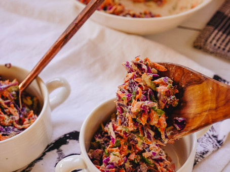 Vegan, Oil-Free Rainbow Slaw with Hemp Seed Dressing