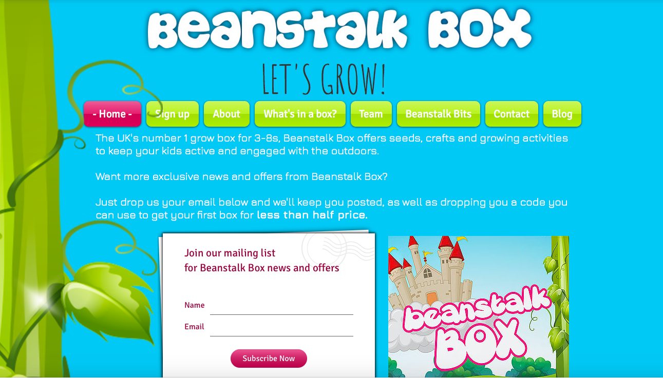 Beanstalk Box Homepage Cherry Sites