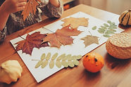 preparations for autumn craft with kids.