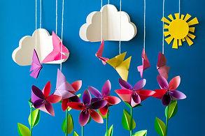 Origami paper flowers, butterflies, clou