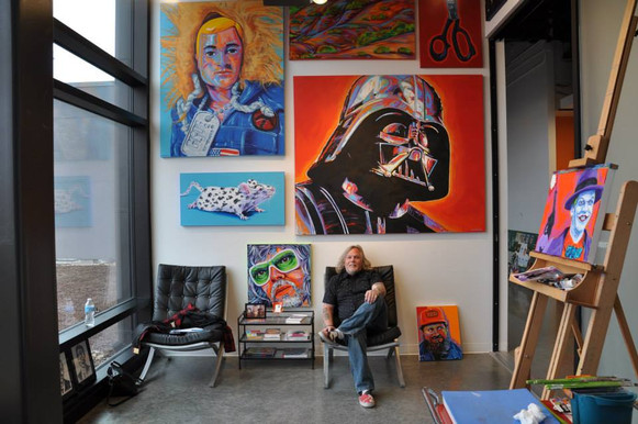 artist John Hammer in his studio