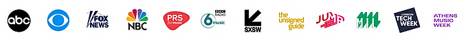 Logos of media features for SMB The School of Music Business including ABC, CBS, Fox News and PRS For Music