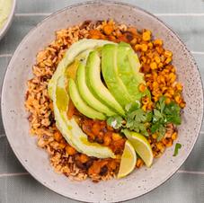 "Chantal Organics: Vegan Chilli, Avocado ""Sour Cream"" & Grilled Corn"