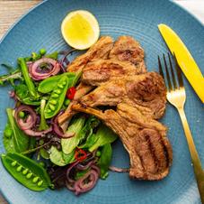 Chantal organics: Thai Lamb Cutlets With Spicy Herb Salad