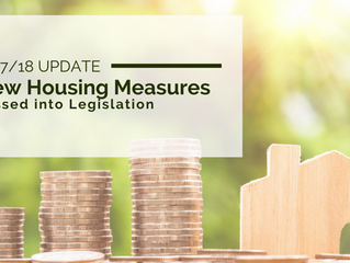 2017/2018 Update: New Housing Measures Passed into Legislation
