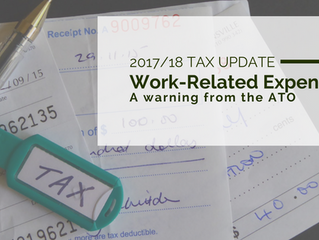2017/18 Tax Update: ATO warning regarding work related expense claims