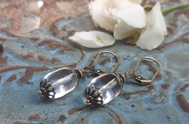 poet's cove - clear quartz earrings