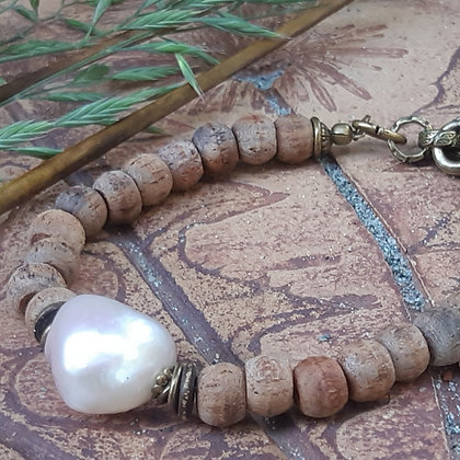 Baroque Pearl and Wooden Bead Bracelet