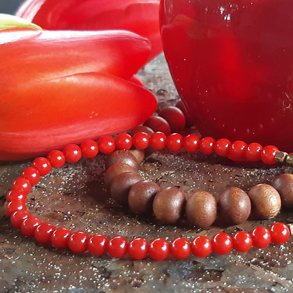 zen and bamboo coral -  bracelet set