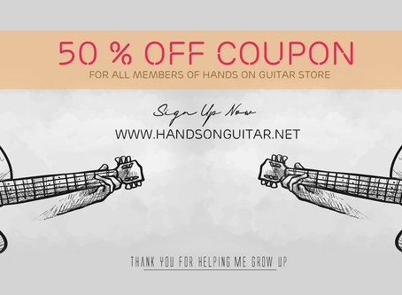 50% OFF for next 3 purchases | Tri ân thành viên Hands on guitar Store