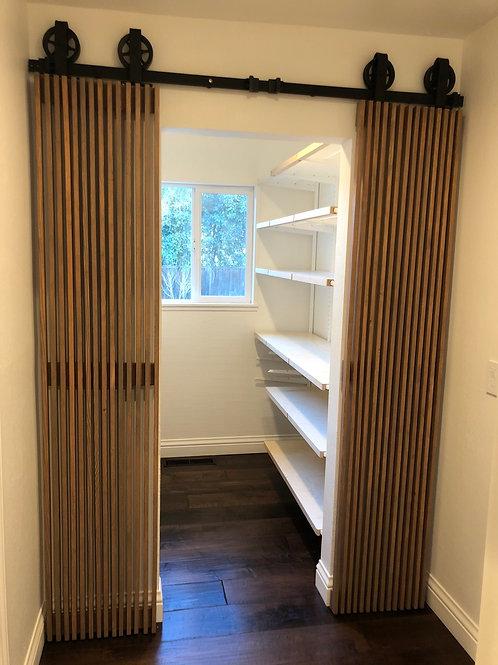 Wood Slat Pantry Doors - Mid Century Modern