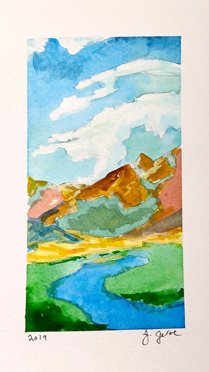 Mountain and Sky Watercolor Landscape